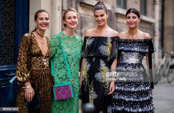 Margherita Maccapani Missoni Elizabeth von Thurn und Taxis Bianca Brandolini and Giovanna Battaglia wearing off shoulder dress seen outside Valentino...