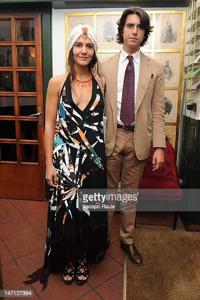 Margherita Missoni and Eugenio Amos attends Officiel Hommes Paris Dinner on June 25 2012 in Milan Italy