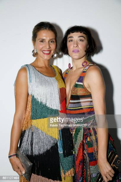 Margherita Missoni and Mia Morretti walk the red carpet at the amfAR Gala Milano on September 21 2017 in Milan Italy