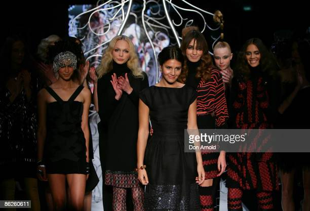 Margherita Missoni is congratulated during the Little Black Dress show on the catwalk at the Overseas Passenger Terminal, Circular Quay on day two of...