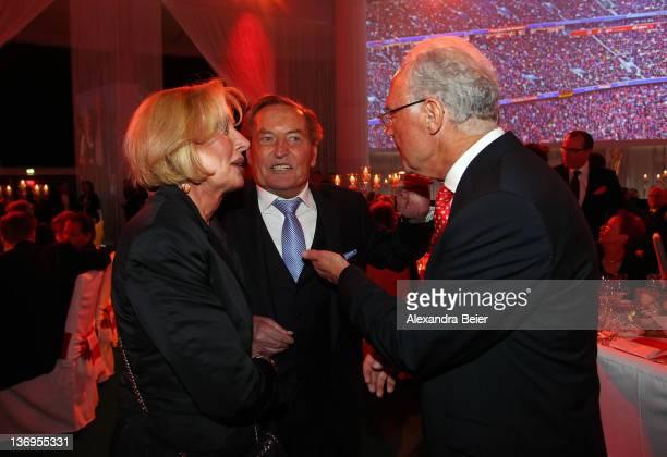 Margit and Gerhard MayerVorfelder talk to Franz Beckenbauer at Uli Hoeness' 60th birthday celebration at Postpalast on January 13 2012 in Munich...