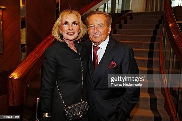 Margit MayerVorfelder and Gerhard MayerVorfelder pose during the celebration of the 80th birthday of Gerhard MayerVorfelder at the Schlossgartenhotel...