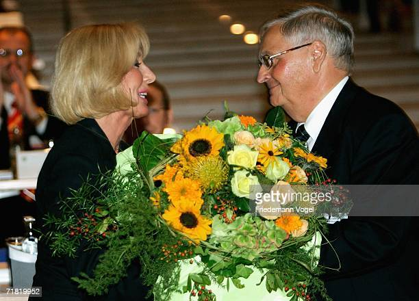Margit MayerVorfelder and the President of the German Football Federation Theo Zwanziger talk during the DFB Extraordinary Session at the Congress...