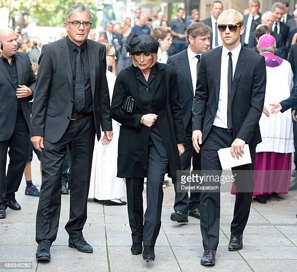 Margit MayerVorfelder leaves after the Gerhard MayerVorfelder Memorial Service at St Eberhard chruch on August 27 2015 in Stuttgart Germany