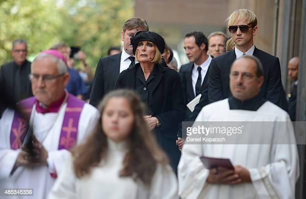 Margit MayerVorfelder leaves the Gerhard MayerVorfelder Memorial Service at St Eberhard chruch on August 27 2015 in Stuttgart Germany