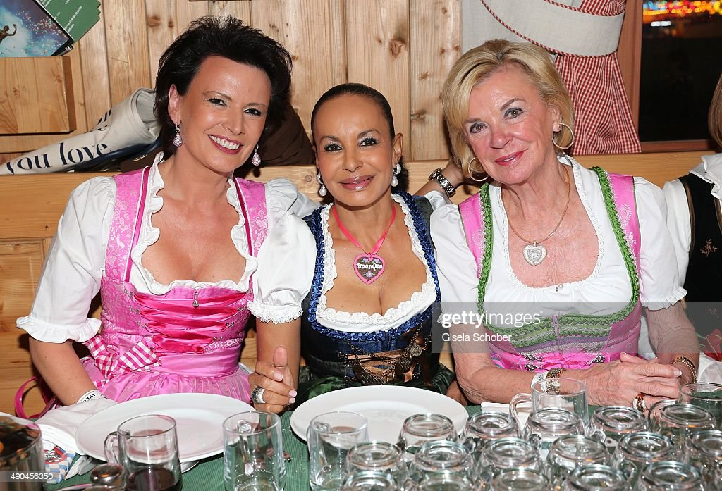Margit Toennies, Jochi Sauerland, Liz Mohn, Bertelsmann, during the 'Sauerland Stammtisch' at Oktoberfest 2015 at Weinzelt /Theresienwiese on September 28, 2015 in Munich, Germany.