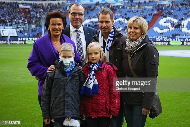 Margit Toennies patron of the association Kindertraeume and her husband chairman Clemens Toennies of Schalke invited family Schaefer and son Marvin...