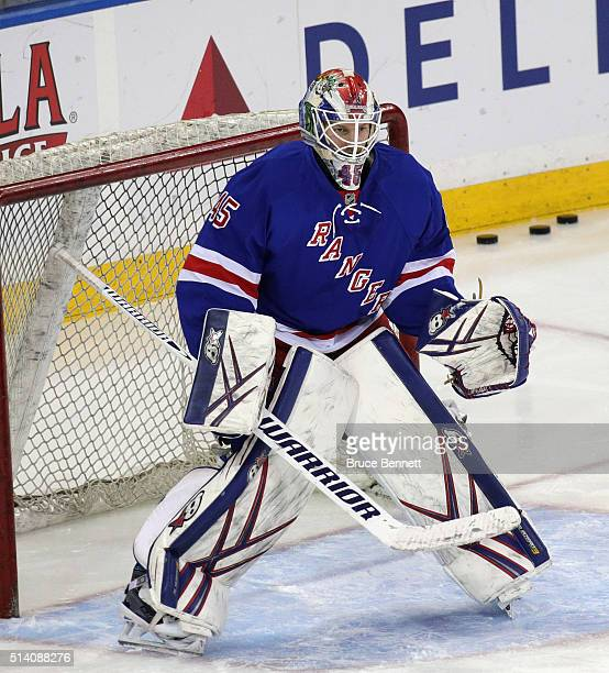 Margnus Hellberg of the New York Rangers skates in warmups prior to the game against the New York Islanders at Madison Square Garden on March 6 2016...