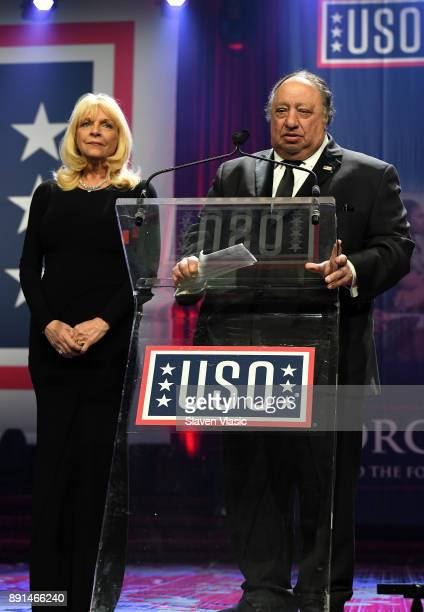 Margo and John Catsimatidis attend USO 56th Armed Forces Gala Gold Medal Dinner at Marriot Marquis on December 12 2017 in New York City