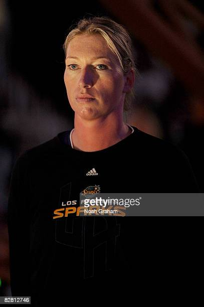 Margo Dydek of the Los Angeles Sparks stands on the court during the national anthem prior to the game against the Seattle Storm on September 14,...