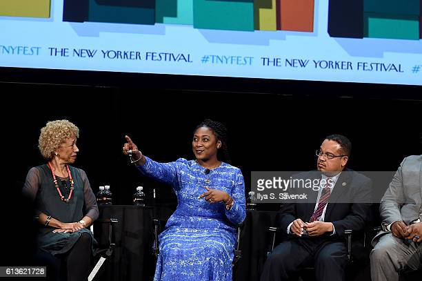 Margo Jefferson Alicia Garza and Congressman Keith Ellison speak on stage during 'A More Perfect Union Obama and The Racial Divide' featuring...