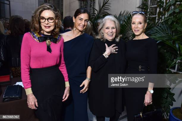 Margo Langenberg Cristiana Vigano guest and Stephanie Krieger attend QUEST VHERNIER Host Luncheon at MAJORELLE at Majorelle on October 17 2017 in New...