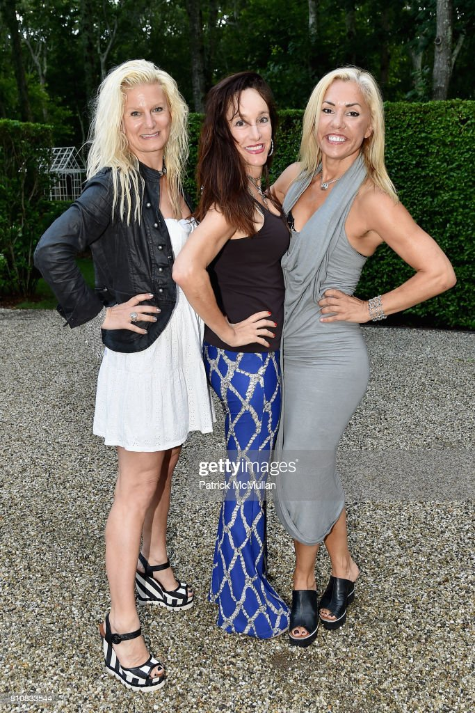 Margo Manhattan, Julie Teitel and Luciana Pampalone attend Katrina and Don Peebles Host NY Mission Society Summer Cocktails at Private Residence on July 7, 2017 in Bridgehampton, New York.