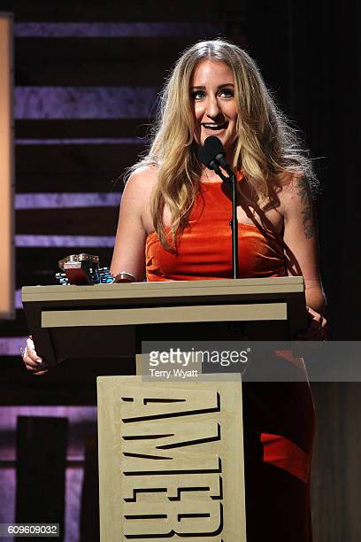 Margo Price accepts the Emerging Artist Award onstage at the Americana Honors Awards 2016 at Ryman Auditorium on September 21 2016 in Nashville...