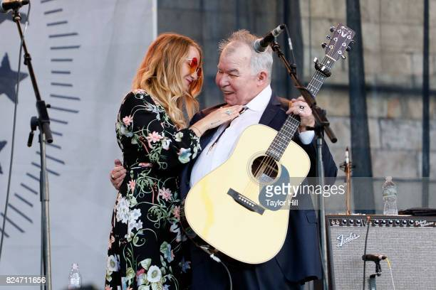 Margo Price and John Prine perform during the 2017 Newport Folk Festival at Fort Adams State Park on July 30 2017 in Newport Rhode Island