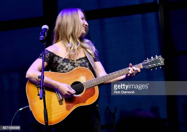"Margo Price performs ""Fist City"" onstage during the exhibition opening of Loretta Lynn Blue Kentucky Girl at Country Music Hall of Fame and Museum on..."