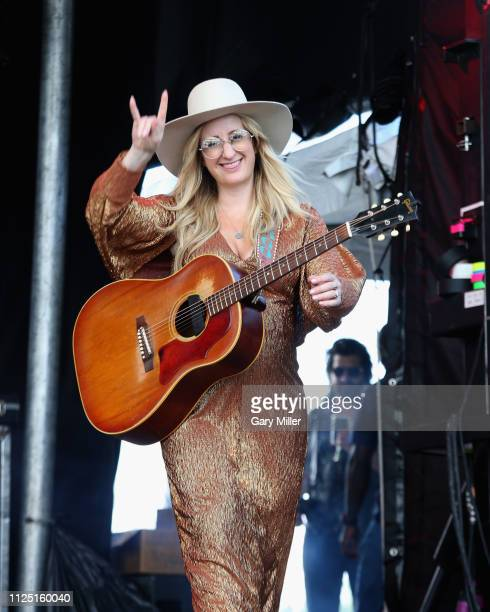 Margo Price performs in concert while six and a half months pregnant during the sold out inaugural KAABOO Cayman Festival at Seven Mile Beach on...