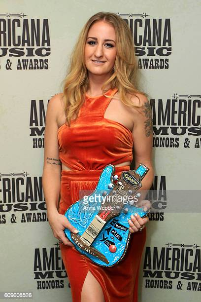 Margo Price poses backstage with her Emerging Artist of the Year Award at the Americana Honors Awards 2016 at Ryman Auditorium on September 21 2016...