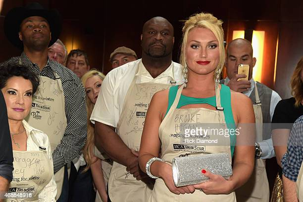 Margo Rey Cwoboy Troy Bob Sapp and Brooke Hogan attend the 14th Annual Kevin Carters Waiting for Wishes Celebrity Waiters Dinner presented by HCA /...