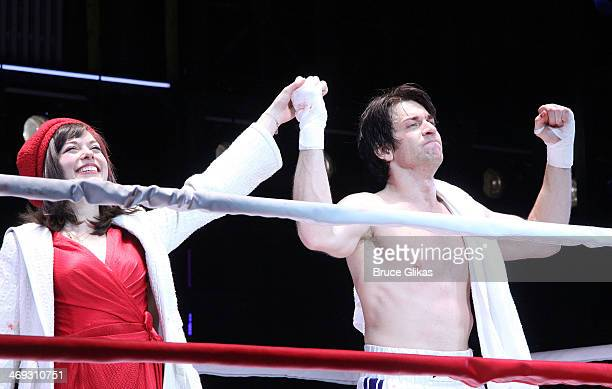 Margo Seibert as 'Adrian' and Andy Karl as 'Rocky Balboa' celebrate during the first curtain call for the new musical 'Rocky' on Broadway at The...