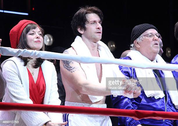 Margo Seibert as 'Adrian' Andy Karl as 'Rocky Balboa' and Dakin Matthews as 'Mickey' celebrate during the first curtain call for the new musical...