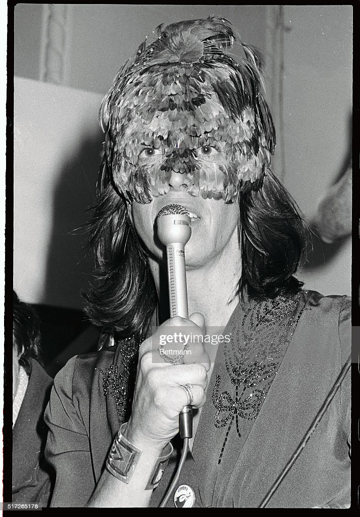 Margo St. James Wearing Feathered Covering : News Photo