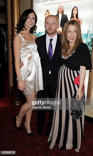 Margo Stilley Simon Pegg and Gillian Anderson arrive at the UK film premiere of 'How To Lose Friends And Alienate People' at the Empire Cinema on...