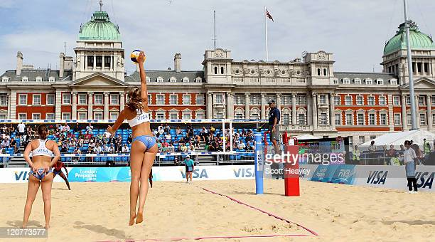 Margo Wiltens of Holland serves during their Preliminary Phase Pool B match against Vanuatu during the VISA FIVB Beach Volleyball International at...