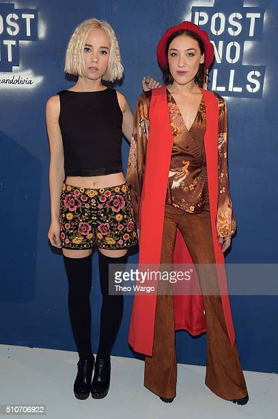Margot and actress Mia Moretti attend the Alice Olivia By Stacey Bendet Arrivals at The Gallery Skylight at Clarkson Sq on February 16 2016 in New...