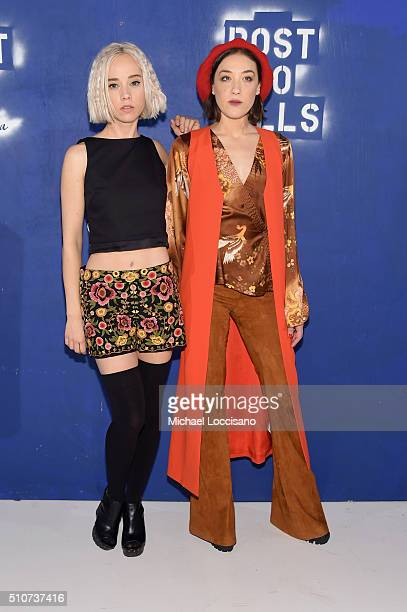 Margot and actress Mia Moretti attend the alice olivia by Stacey Bendet Fall 2016 presentation at The Gallery Skylight at Clarkson Sq on February 16...