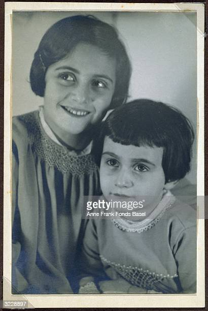 Margot and Anne Frank in a studio portrait This photo was taken from Margot's photo album Frankfurt Germany
