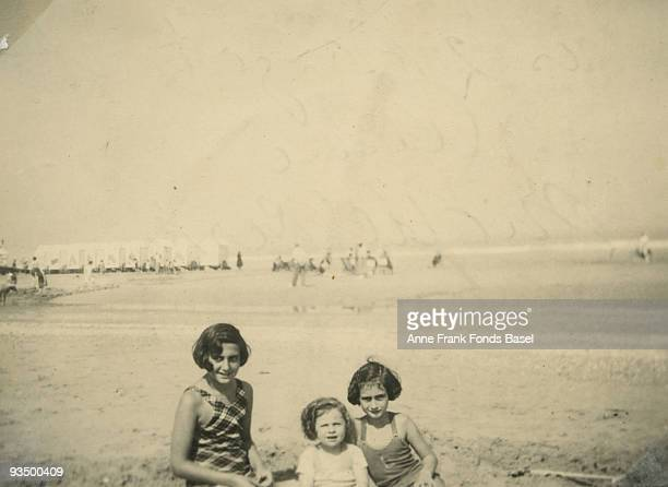 Margot and Anne Frank on the beach at Middelkerke Belgium July 1937 A photograph taken from Anne Frank's photo album and captioned 'Les deux Margots...
