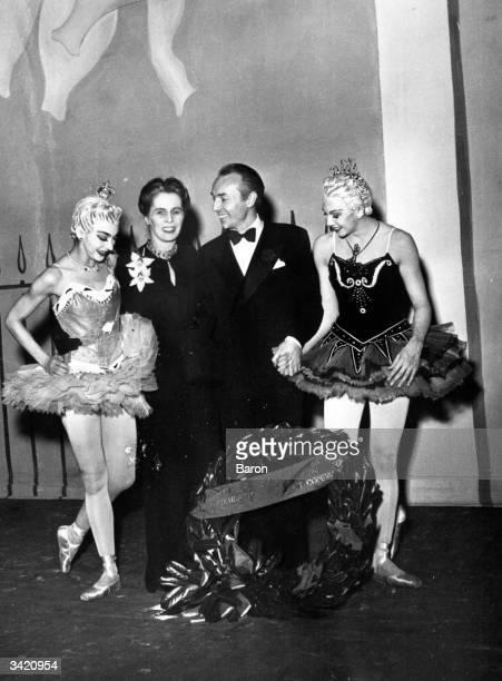 Margot Fonteyn Ninette de Valois choreographer George Balanchine and Beryl Grey after a performance at Covent Garden
