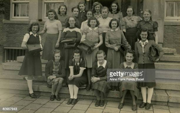 Margot Frank elder sister of Anne Frank with her class at the Lyceum voor Meisjes in Amsterdam May 1941 Margot is in the second row from the back...