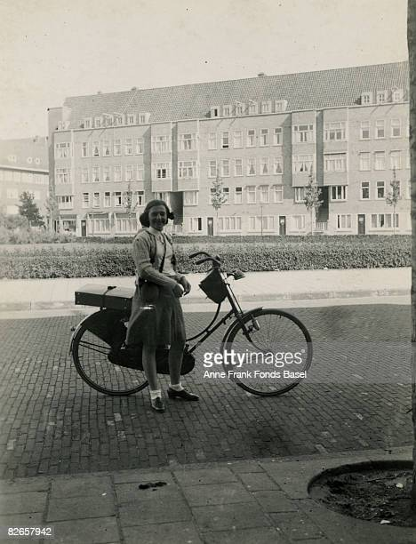 Margot Frank sister of Anne Frank cycling at Merwedeplein in Amsterdam May 1939