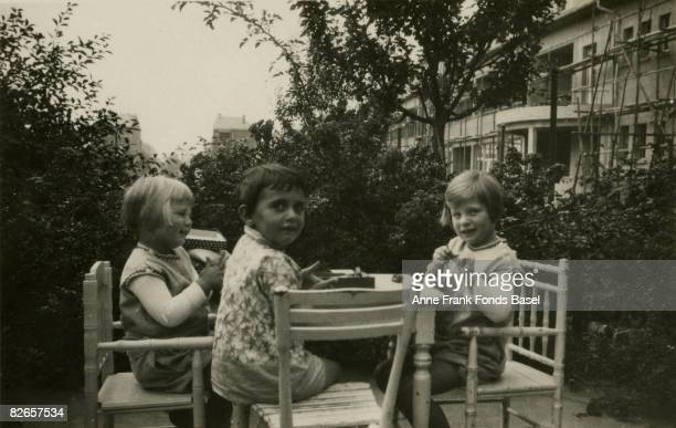 Margot Frank sister of Anne Frank in Frankfurt am Main with friends Illa and Rosemarie Angrick June 1929