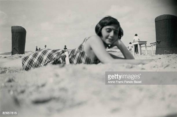 Margot Frank sister of Anne Frank on the beach at Zandvoort 1938