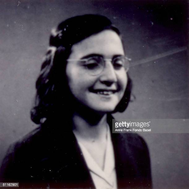 Margot Frank the sister of Anne Frank wearing glasses and a dark blazer May 1939 From Anne Frank's photo album