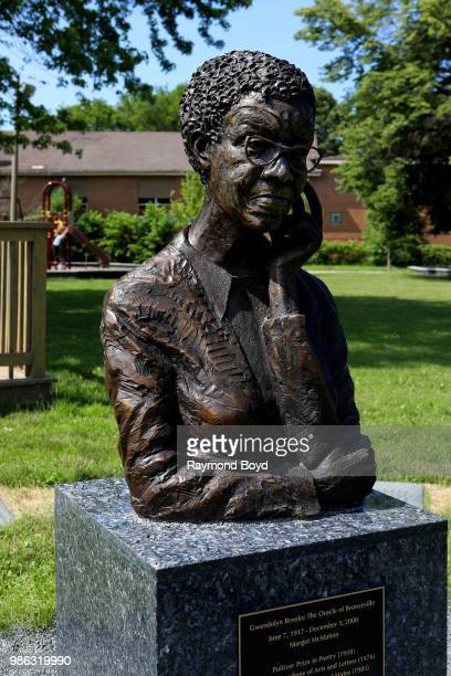 Margot McMahon's 'Gwendolyn Brooks The Oracle Of Bronzeville' bust sits in Gwendolyn Brooks Park in Chicago Illinois on June 23 2018 MANDATORY...
