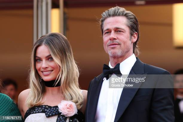 Margot Robbie and Brad Pitt attend the screening of Once Upon A Time In Hollywood during the 72nd annual Cannes Film Festival on May 21 2019 in...