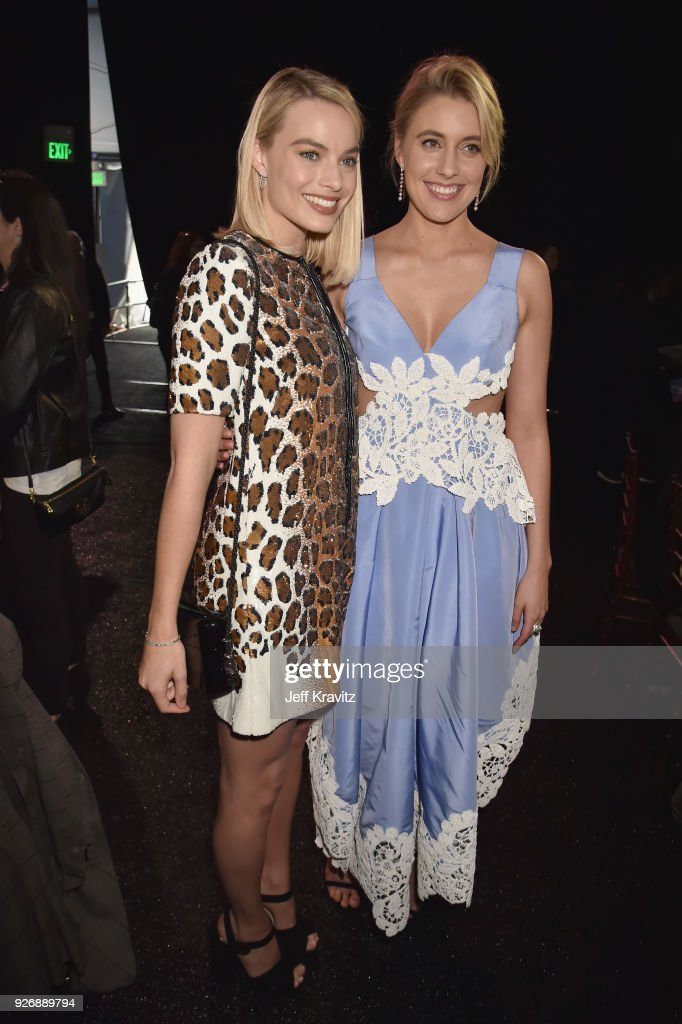 Margot Robbie (L) and Greta Gerwig with FIJI Water during the 33rd Annual Film Independent Spirit Awards on March 3, 2018 in Santa Monica, California.