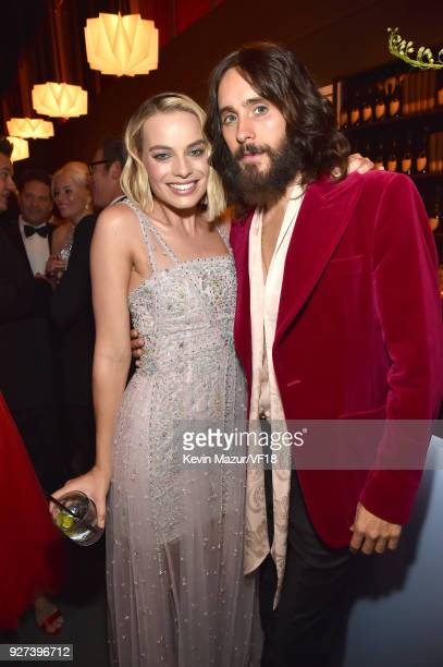 Margot Robbie and Jared Leto attend the 2018 Vanity Fair Oscar Party hosted by Radhika Jones at Wallis Annenberg Center for the Performing Arts on...