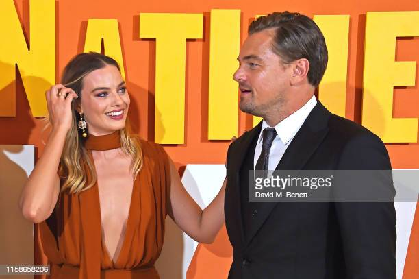 Margot Robbie and Leonardo DiCaprio attend the UK Premiere of Once Upon a TimeIn Hollywood at the Odeon Luxe Leicester Square on July 30 2019 in...