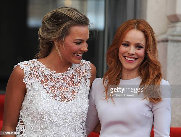 Margot Robbie and Rachel McAdams attend the World Premiere of 'About Time' at Somerset House on August 8 2013 in London England