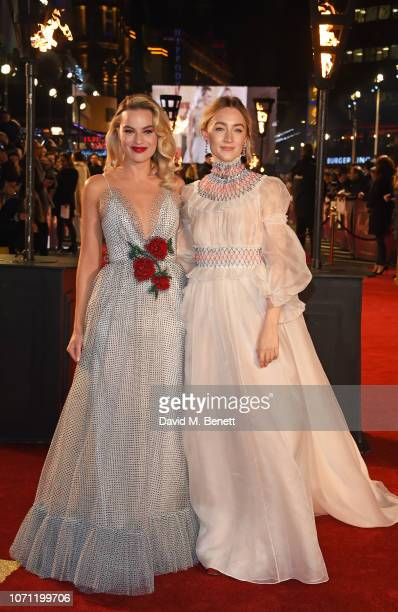 """Margot Robbie and Saoirse Ronan attend the European Premiere of """"Mary Queen Of Scots"""" at Cineworld Leicester Square on December 10, 2018 in London,..."""