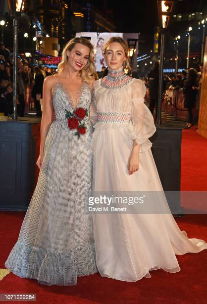 Margot Robbie and Saoirse Ronan attend the European Premiere of Mary Queen Of Scots at Cineworld Leicester Square on December 10 2018 in London...