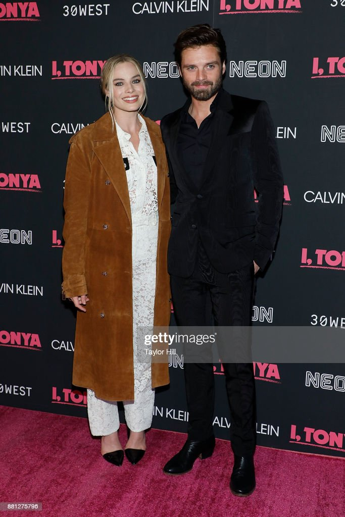 Margot Robbie and Sebastian Stan attend a screening of 'I, Tonya' at Village East Cinema on November 28, 2017 in New York City.
