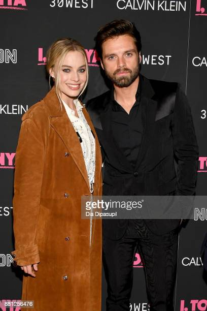 Margot Robbie and Sebastian Stan attend the 'I Tonya' New York Premiere at Village East Cinema on November 28 2017 in New York City
