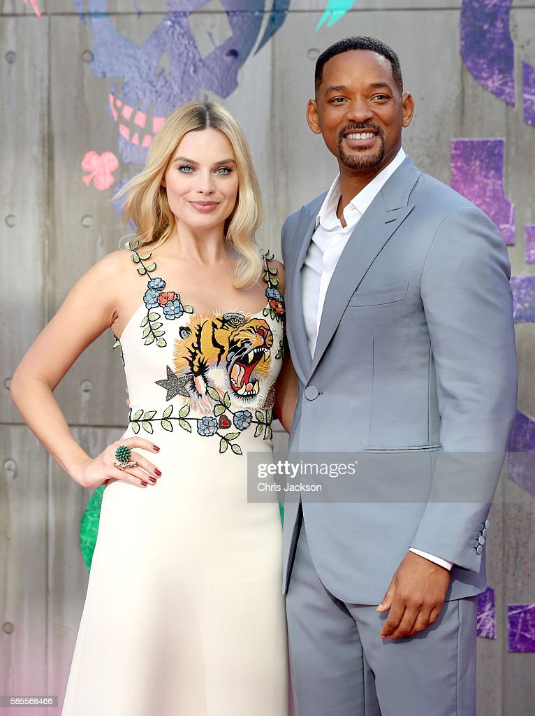 Margot Robbie and Will Smith attend the European Premiere of 'Suicide Squad' at the Odeon Leicester Square on August 3, 2016 in London, England.