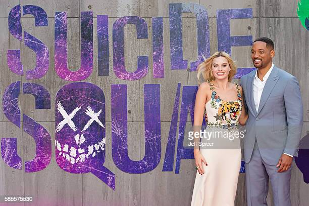 """Margot Robbie and Will Smith attend the European Premiere of """"Suicide Squad"""" at Odeon Leicester Square on August 3, 2016 in London, England."""